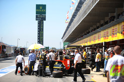 The GP2 pit lane during practice