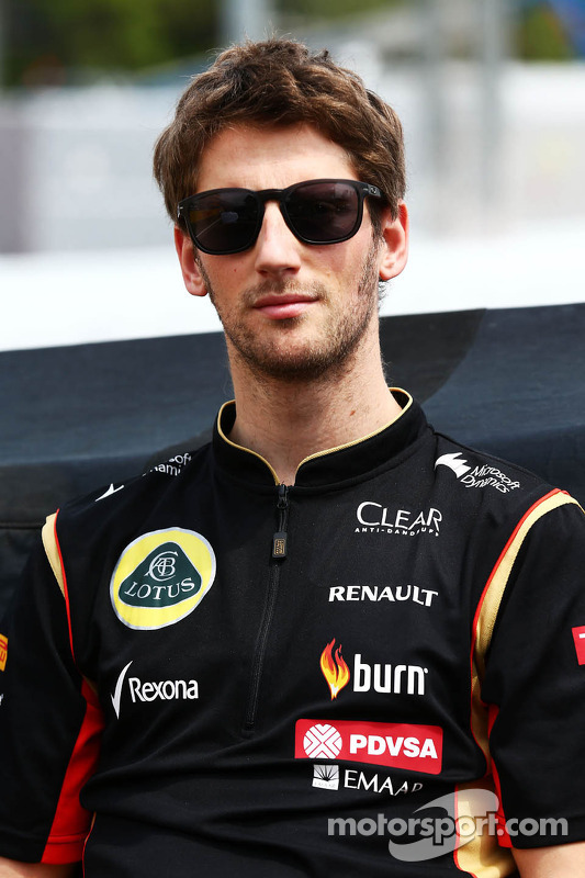 Romain Grosjean, Lotus F1 Team na parada dos pilotos