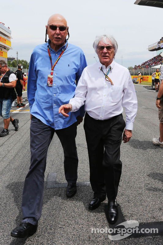 (L to R): Peter Brabeck-Letmathe, Formula One Chairman and Bernie Ecclestone, on the grid