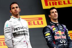 Podium: race winner Lewis Hamilton, third place Daniel Ricciardo