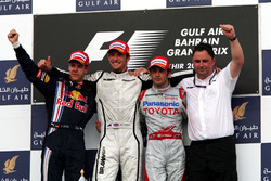 Podium: second place Sebastian Vettel, Red Bull Racing, Race winner Jenson Button, Brawn GP, third place Jarno Trulli,  Toyota, and Ron Meadows, Brawn GP Team Manager
