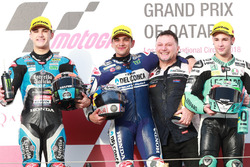 Podium: second place Aron Canet, Estrella Galicia 0,0, Race winner Jorge Martin, Del Conca Gresini Racing Moto3, Fausto Gresini, Team Manager Gresini Racing third place Lorenzo Dalla Porta, Leopard Racing