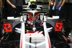 Kevin Magnussen, Haas F1 Team VF-18 Ferrari, in the garage