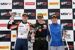 Podium: Race winner Linus Lundqvist, Double R, second place Nicolai Kjaergaard, Carlin, third place Billy Monger, Carlin