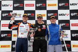 Podium: second place Nicolai Kjaergaard, Carlin, Race winner Linus Lundqvist, Double R, third place Billy Monger, Carlin