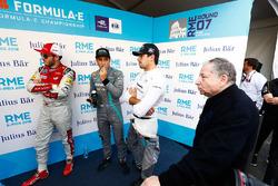 Daniel Abt, Audi Sport ABT Schaeffler, Mitch Evans, Jaguar Racing, Nelson Piquet Jr., Jaguar Racing, Jean Todt, FIA President, in the media pen