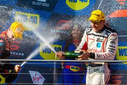 Podium: second place David Reynolds, Erebus Motorsport Holden, third place Rick Kelly, Nissan Motorsport Nissan