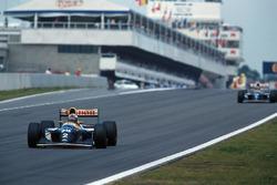 Alain Prost, Williams FW15C leads team mate Damon Hill, Williams FW15C