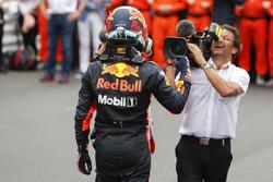 Race winner Daniel Ricciardo, Red Bull Racing, celebrates in Parc Ferme