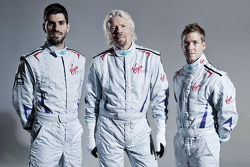 Virgin Racing drivers Jaime Alguersuari and Sam Bird with Sir Richard Branson