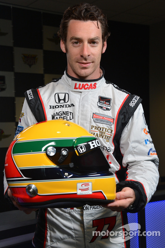 casque de simon pagenaud en hommage ayrton senna indy 500 photos indycar. Black Bedroom Furniture Sets. Home Design Ideas