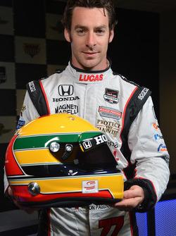 Simon Pagenaud and his Ayrton Senna tribute helmet