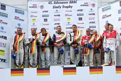 Podium: winners Lance David Arnold, Andreas Simonsen, Christian Menzel, second place Jorg Muller, Uwe Alzen, third place Klaus Abbelen, Sabine Schmitz, Patrick Huisman, Frank Stippler