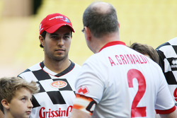 Sergio Perez, Sahara Force India F1 with HSH Prince Albert of Monaco, at the charity football match