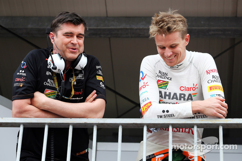 (L to R): Bradley Joyce, Sahara Force India F1 Race Engineer with Daniel Juncadella, Sahara Force India F1 Team Test and Reserve Driver