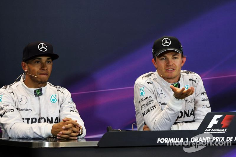 Conferenza stampa della FIA post gara, Lewis Hamilton, Mercedes AMG F1, secondo; Nico Rosberg, Mercedes AMG F1, vincitore della gara