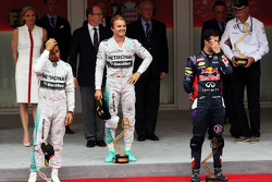 The podium: Lewis Hamilton, Mercedes AMG F1, second; Nico Rosberg, Mercedes AMG F1, race winner; Daniel Ricciardo, Red Bull Racing, third