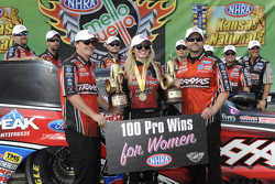 Courtney Force and team celebrate the 100th win for women