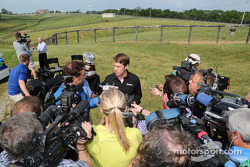 Carl Edwards speaks with the media at Dreamfields Farm in Kentucky