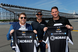 Jimmie Johnson with actors Jonah Hill and Channing Tatum
