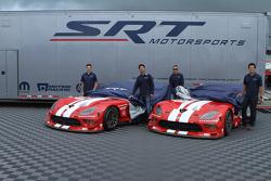 Dominik Farnbacher, Marc Goossens, Jonathan Bomarito, Kuno Wittmer unveil the retro livery on the Viper