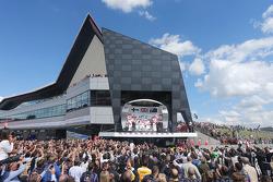 The podium, Mercedes AMG F1, second; Lewis Hamilton, Mercedes AMG F1, race winner; Daniel Ricciardo, Red Bull Racing, third; Valtteri Bottas