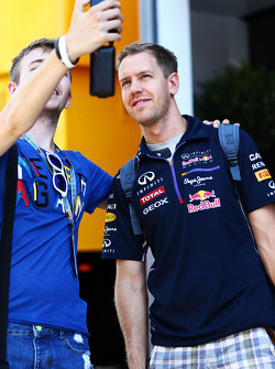 Sebastian Vettel with a fan