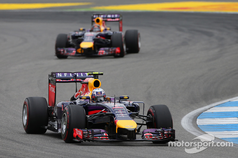 Daniel Ricciardo, Red Bull Racing RB10 leads team mate Sebastian Vettel, Red Bull Racing RB10