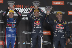 Podium: race winner Jamie Whincup, second place Chaz Mostert, third place Craig Lowndes