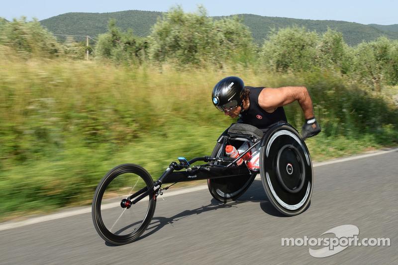 Alex Zanardi prepares for a long-distance triathlon to be held in Hawaii in October