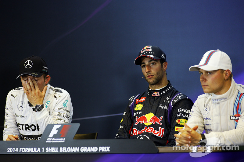Conferenza stampa della FIA post gara, Nico Rosberg, Mercedes AMG F1, Daniel Ricciardo, Red Bull Racing, Valtteri Bottas, Williams