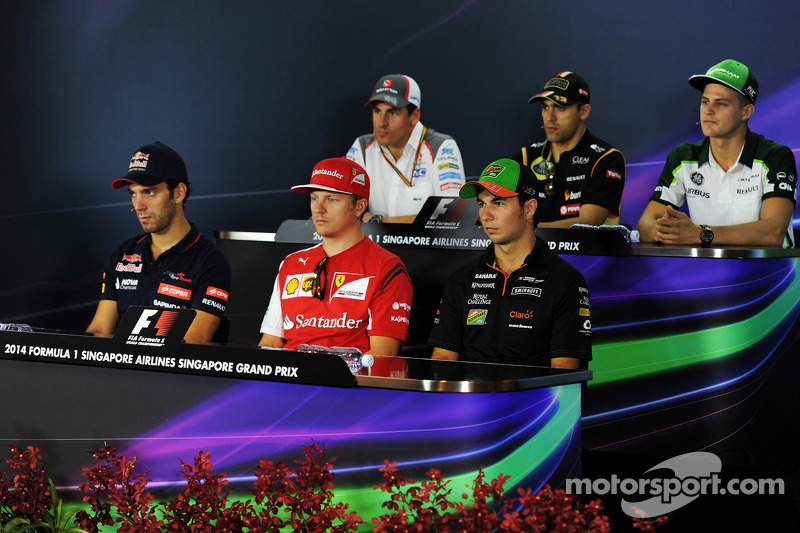 FIA-Pressekonferenz: Adrian Sutil, Sauber; Pastor Maldonado, Lotus; Marcus Ericsson, Caterham; Jean-Eric Vergne, Scuderia Toro Rosso; Kimi Räikkönen, Ferrari; Sergio Perez, Force India