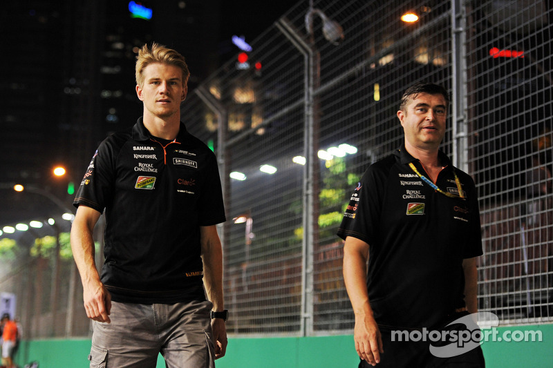 Trackwalk: Nico Hülkenberg, Sahara Force India F1; Bradley Joyce, Sahara Force India F1, Renningenieur