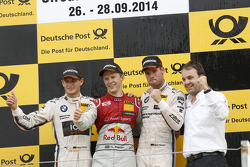 Race winner Mattias Ekström, second place Marco Wittmann, third place Martin Tomczyk