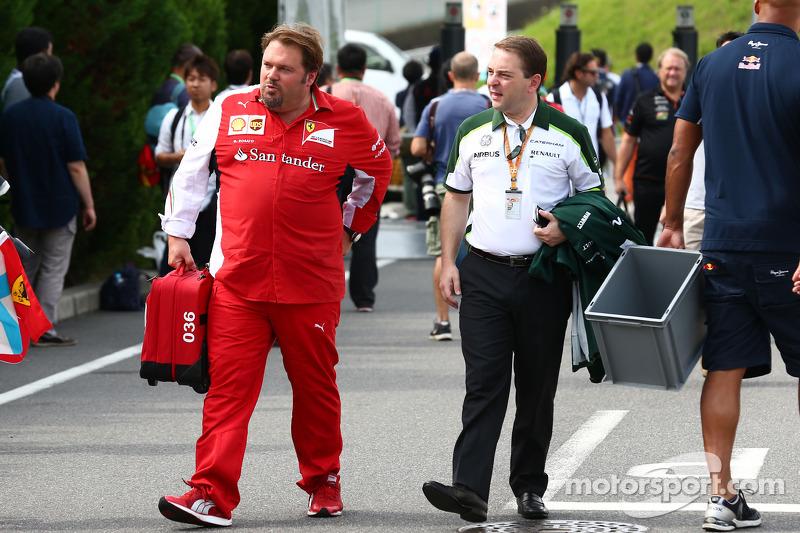 (L to R): Gino Rosato, Ferrari with Dr. Manfredi Ravetto, Caterham F1 Team Principal