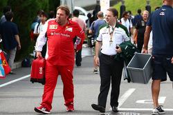 (Da sinistra a destra): Gino Rosato, Ferrari con Dr. Manfredi Ravetto, Caterham F1 Team Principal