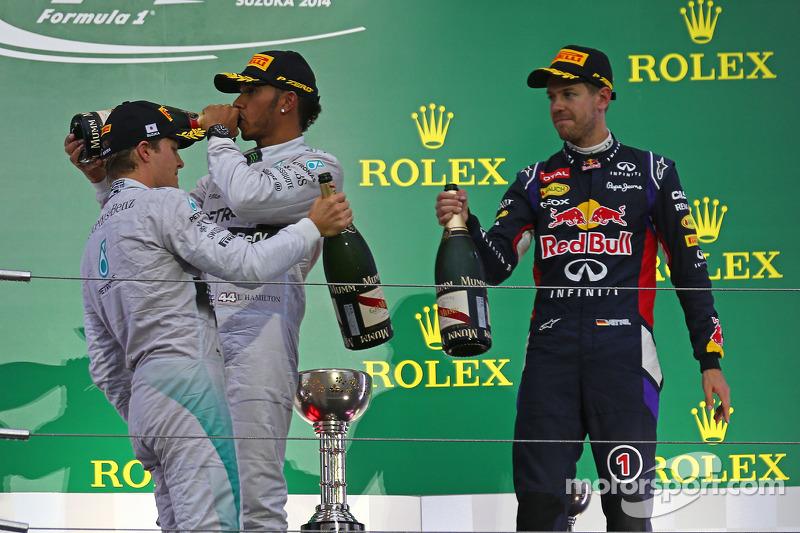 2014 Podum: 1. Lewis Hamilton, Mercedes. 2. Nico Rosberg, Mercedes. 3. Sebastian Vettel, Red Bull - Renault