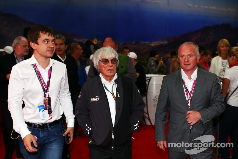 (L to R): Sergey Vorobyev, Deputy General Director, OJSC Centre Omega, and Russian GP Promoter with Bernie Ecclestone, and Alexander Saurin, Vice Govenor of Krasnodar Regional Administration
