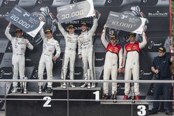 Podium: race winners Maximilian Götz, Maximilian Buhk, second place Hari Proczyk, Jeroen Bleekemolen, third place Cesar Ramos, Laurens Vanthoor
