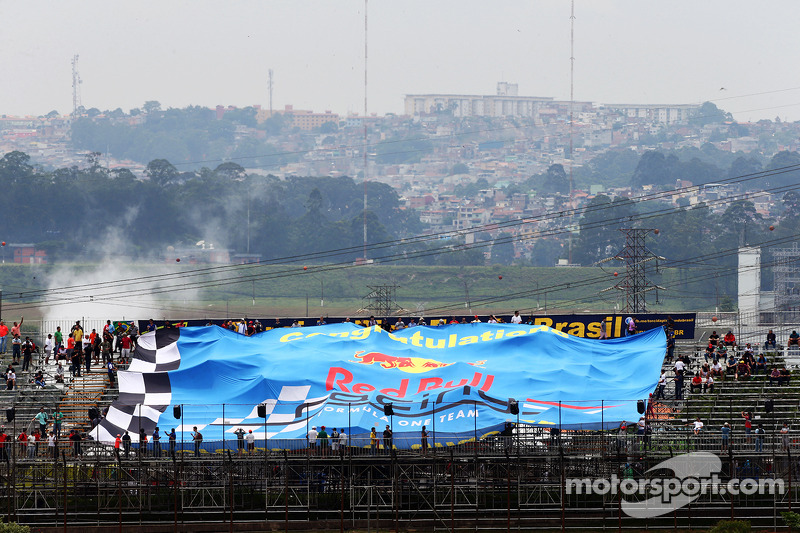 A large banner for Red Bull Racing