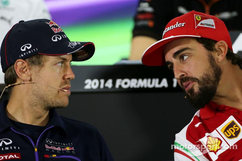 Sebastian Vettel, Red Bull Racing e Fernando Alonso, Scuderia Ferrari
