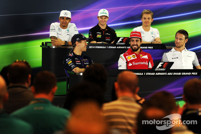 La conferenza stampa FIA: Lewis Hamilton, Mercedes AMG F1; Nico Hulkenberg, Sahara Force India F1; Nico Rosberg, Mercedes AMG F1; Sebastian Vettel, Red Bull Racing; Fernando Alonso, Ferrari; Jenson Button, McLaren