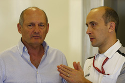 (L to R): Ron Dennis, McLaren Executive Chairman with Phil Prew, McLaren Race Engineer