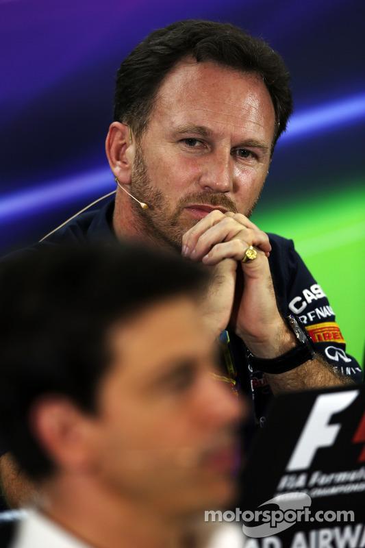 Christian Horner, chefe de equipe da Red Bull e Toto Wolff, sócio e diretor executivo da Mercedes AMG F1, na coletiva de imprensa