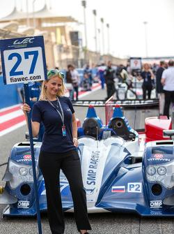 Grid girl with the #27 SMP Racing Oreca 03R - Nissan: Sergey Zlobin, Nicolas Minassian, Maurizio Mediani