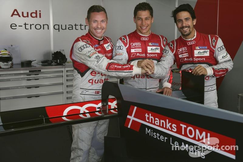 Tom Kristensen, Loic Duval, Lucas di Grassi con un messaggio speciale per il ritiro di Kristensen