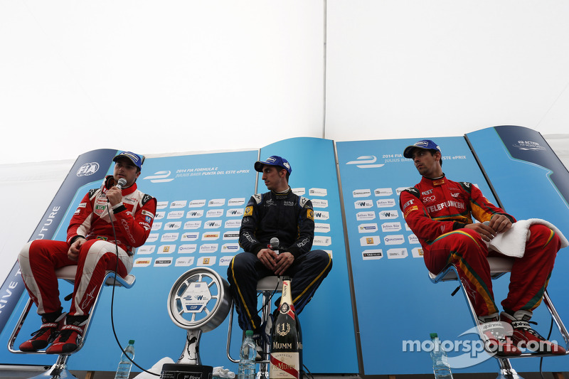 Podium: El ganador  Sebastien Buemi, e.dams-Renault, segundo lugar  Nelson Piquet Jr., Chena Racing, tercer lugar  Lucas di Grassi, Audi Sport ABT