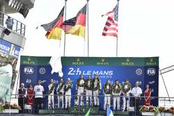 LMGTE Pro podium: winners Michael Christensen, Kevin Estre, Laurens Vanthoor, Porsche GT Team, second place Richard Lietz, Gianmaria Bruni, Frédéric Makowiecki, Porsche GT Team, third place Joey Hand, Dirk Müller, Sébastien Bourdais, Ford Chip Ganassi Racing