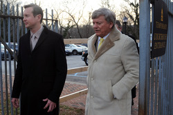Kurt Busch and Rusty Hardin leave the Kent County family courthouse after a hearing regarding assault charges filed by then girlfriend Patricia Driscoll