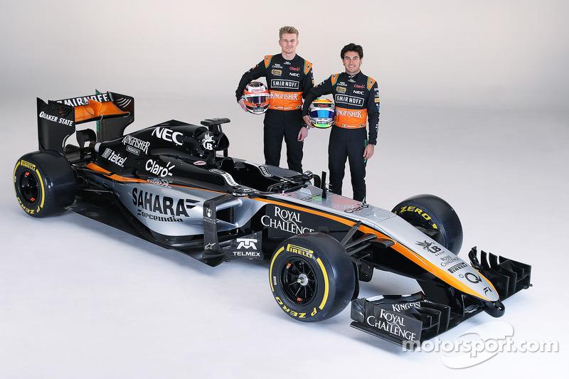 Sergio Perez und Nico Hülkenberg mit dem Farbdesign von Force India für 2015